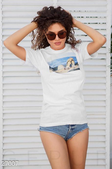 Купить Футболки, майки, Женская хлопковая футболка, Футболка-27007, GEPUR, белый
