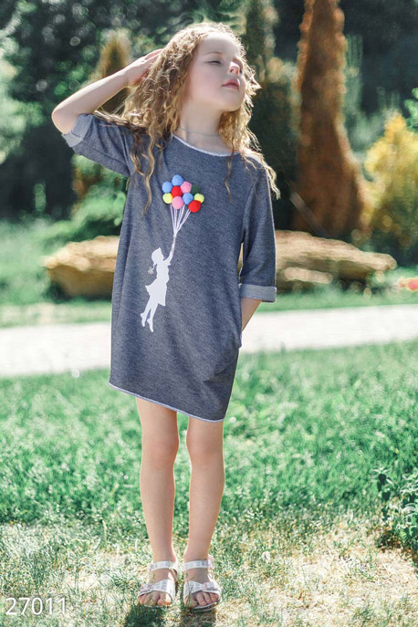 Купить Детская одежда, Детская летняя туника, Туника-27011, GEPUR, темно-синий
