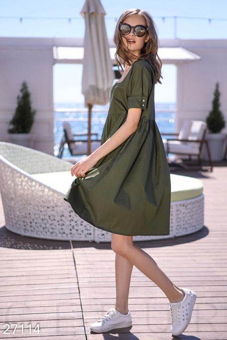Купить Платья / Миди, Свободное летнее платье, Платье-27114, GEPUR, хаки