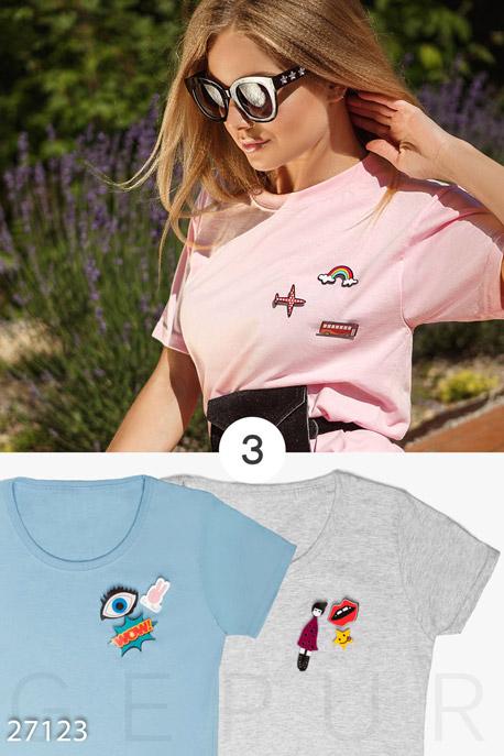 Купить Футболки, майки, Набор из 3-х хлопковых футболок, Набор футболок-27123, GEPUR, розово-голубой