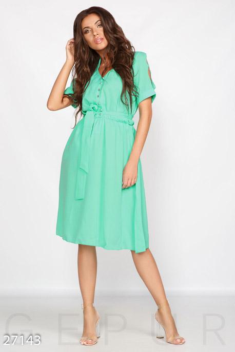 Купить Платья / Миди, Летнее шифоновое платье, Платье-27143, GEPUR, ярко-зеленый