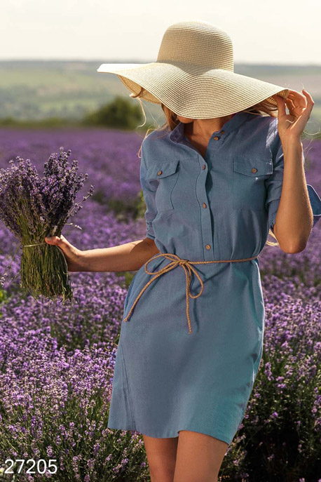 Купить Платья / Мини, Платье-рубашка с поясом, Платье-27205, GEPUR, синий