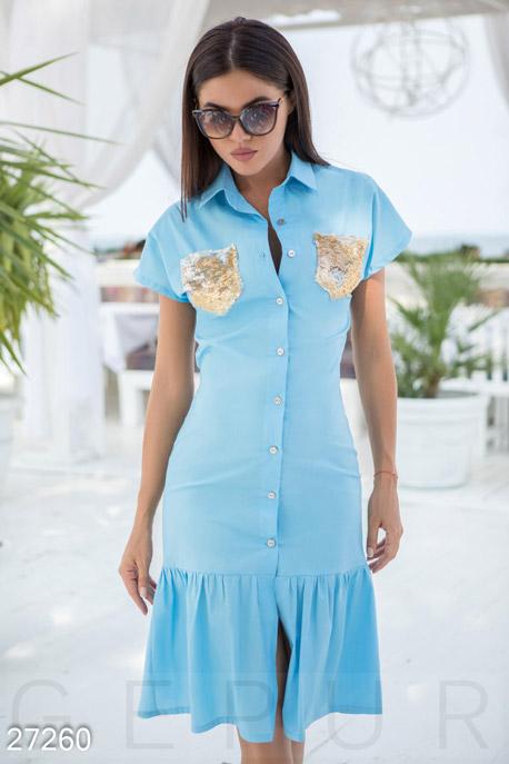Купить Платья / Миди, Платье-рубашка с пайетками, Платье-27260, GEPUR, голубой