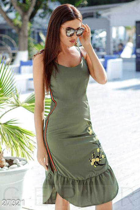 Купить Платья / Большие размеры, Сарафан на тонких бретелях, Сарафан-27321, GEPUR, хаки