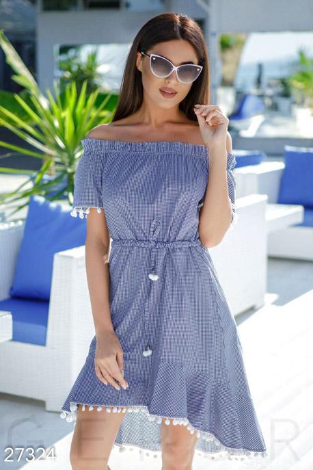 Купить Платья / Мини, Асимметричное клетчатое платье, Платье-27324, GEPUR, сине-белый