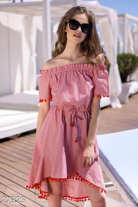 Купить Платья / Мини, Платье с помпонами, Платье-27325, GEPUR, красно-белый
