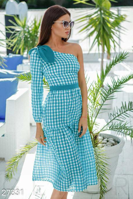Купить Платья / Миди, Платье на одно плечо, Платье-27331, GEPUR, бело-голубой