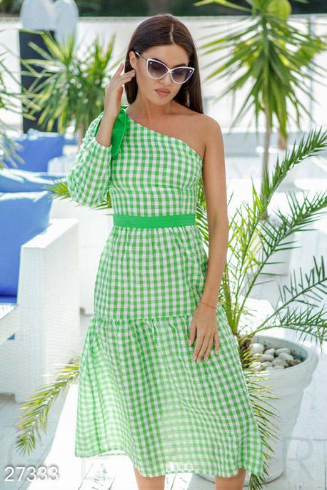 Купить Платья / Миди, Стильное клетчатое платье, Платье-27333, GEPUR, бело-зеленый