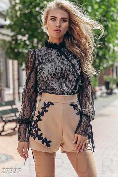 Купить Блузы, рубашки, Оригинальная кружевная блуза, Блуза-27337, GEPUR, черно-бежевый