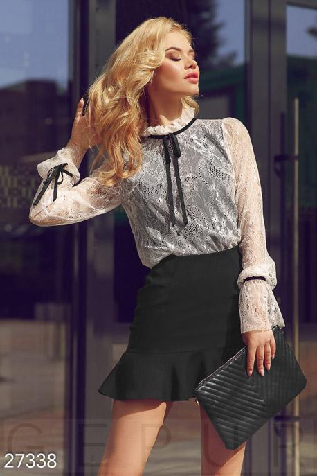 Купить Блузы, рубашки, Контрастная кружевная блуза, Блуза-27338, GEPUR, молочно-черный