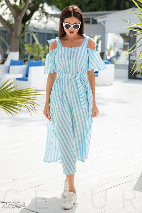 Купить Платья / Миди, Яркое хлопковое платье, Платье-27354, GEPUR, бело-голубой
