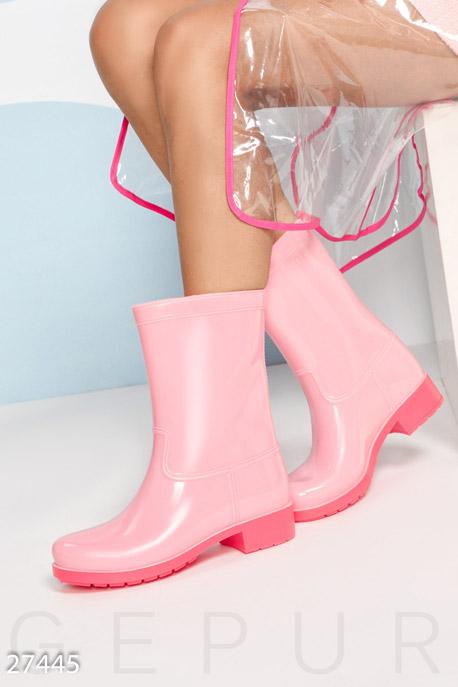 Яркие резиновые полусапожки, Ботинки-27445, Розовый