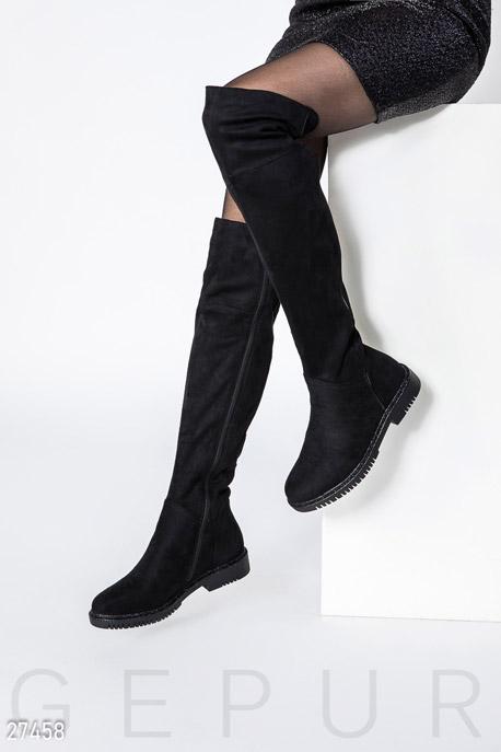 Купить Обувь / Сапоги, Утепленные замшевые ботфорты, Сапоги-27458, GEPUR, черный