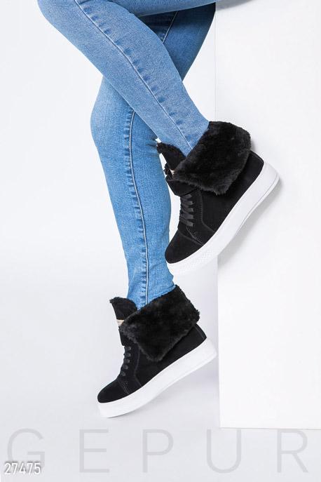 Купить Обувь / Ботинки, Замшевые зимние кеды, Ботинки-27475, GEPUR, черный