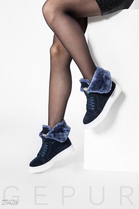 Купить Обувь / Ботинки, Теплые кеды на шнуровке, Ботинки-27476, GEPUR, темно-синий
