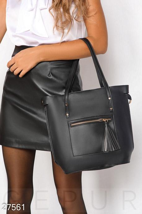 Купить Сумки, клатчи, кошельки / Сумки, Комплект кожаных сумок, Сумка-27561, GEPUR, черный