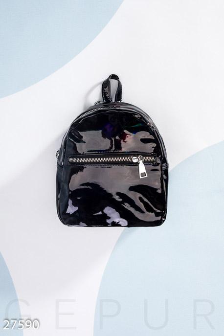 Купить Сумки, клатчи, кошельки / Рюкзаки, Маленький лаковый рюкзак, Рюкзак-27590, GEPUR, черный