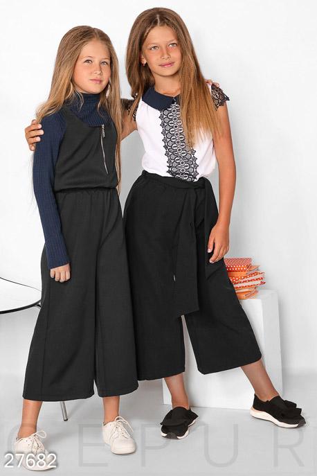 Купить Детская одежда, Комбинезон-кюлоты для девочки, Комбинезон-27682, GEPUR, черный