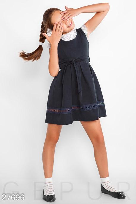 Купить Детская одежда, Лаконичный сарафан для школы, Сарафан-27696, GEPUR, темно-синий