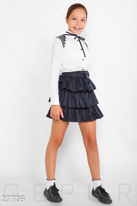Купить Детская одежда, Многоярусная детская юбка, Юбка-27706, GEPUR, темно-синий
