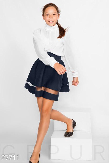 Купить Детская одежда, Однотонная школьная юбка, Юбка-27711, GEPUR, темно-синий