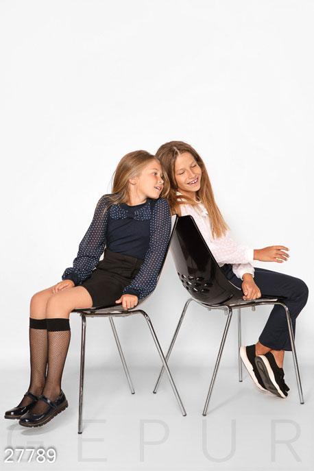 Купить Детская одежда, Комбинированная детская блуза, Блуза-27789, GEPUR, темно-синий