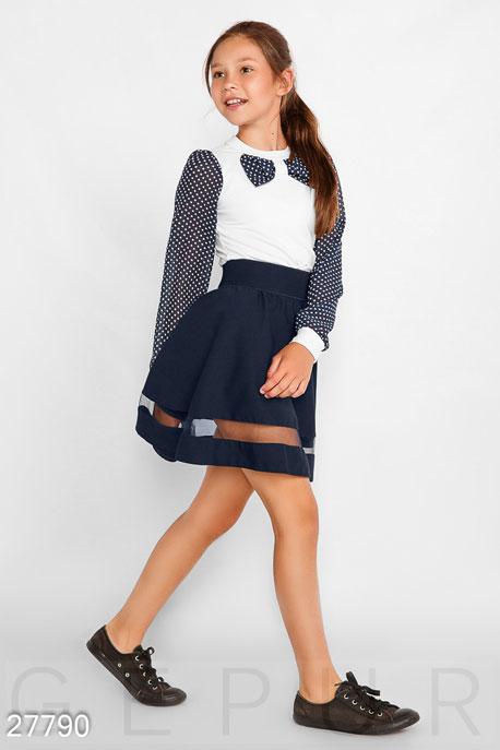 Купить Детская одежда, Блуза в крупный горошек, Блуза-27790, GEPUR, бело-синий