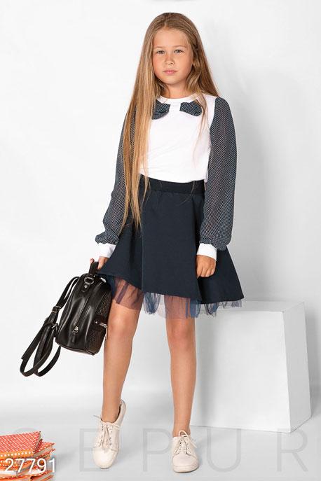 Купить Детская одежда, Школьная блуза в горошек, Блуза-27791, GEPUR, бело-синий