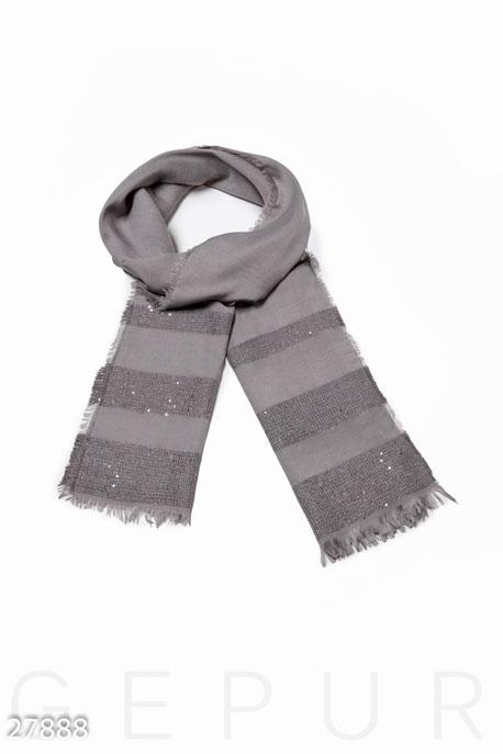 Купить Перчатки, шарфы, шапки / Шарфы, Легкий женский палантин, Палантин-27888, GEPUR, светло-серый