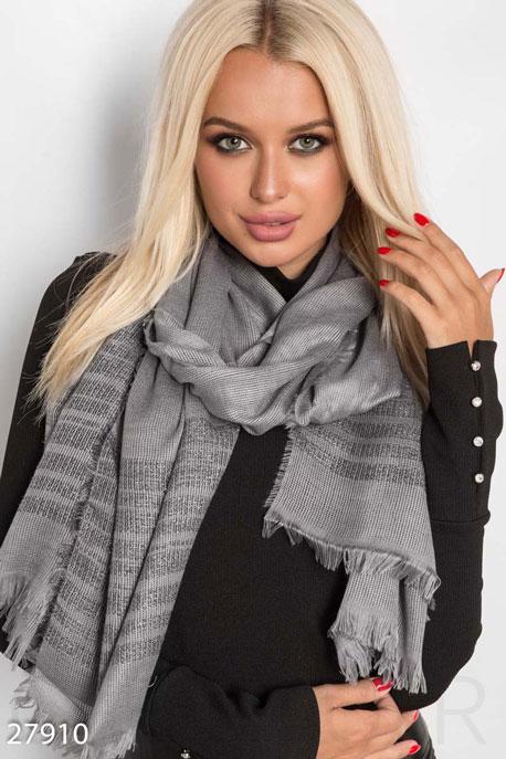 Купить Перчатки, шарфы, шапки / Шарфы, Шарф-палантин с люрексом, Палантин-27910, GEPUR, темно-серый