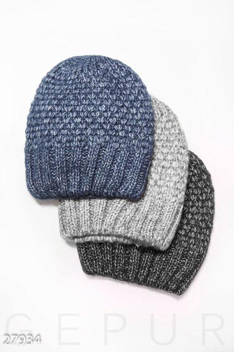 Купить Перчатки, шарфы, шапки / Шапки, Вязаная шапка-бини, Шапка-27934, GEPUR, темно-синий