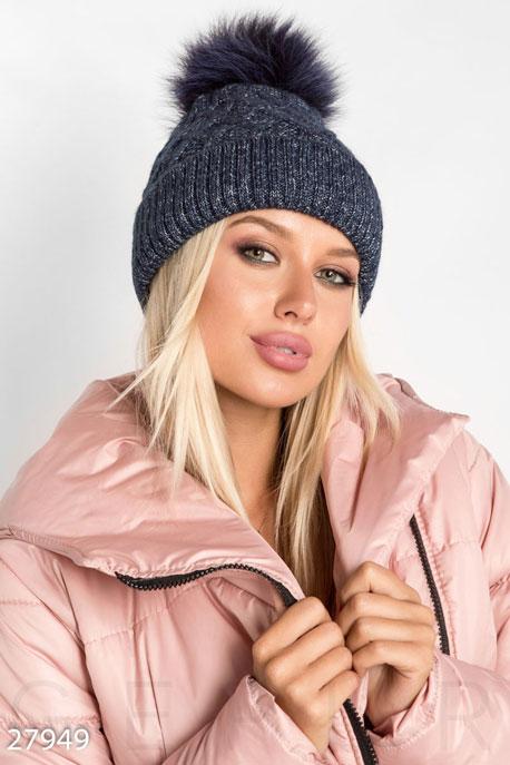Купить Перчатки, шарфы, шапки / Шапки, Вязаная женская шапка, Шапка-27949, GEPUR, темно-синий