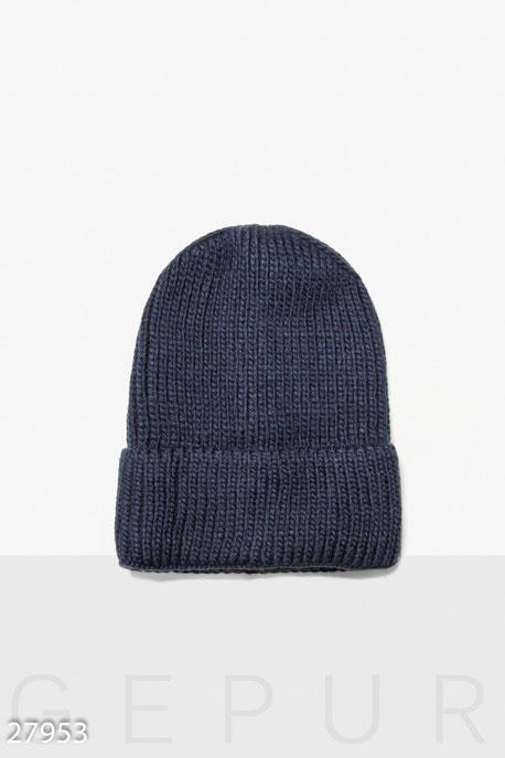Купить Перчатки, шарфы, шапки / Шапки, Женская вязаная шапка, Шапка-27953, GEPUR, темно-синий