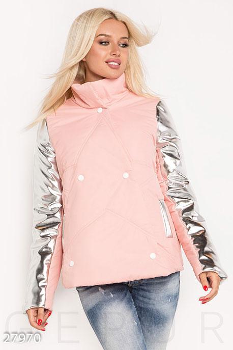 Купить Верхняя одежда / На синтепоне, Комбинированная женская куртка, Куртка-27970, GEPUR, светло-розовый