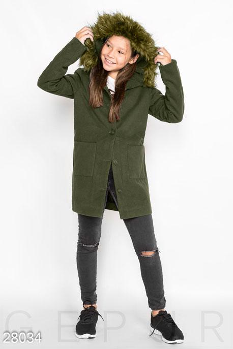 Купить Детская одежда, Теплое демисезонное пальто, Пальто-28034, GEPUR, темно-зеленый