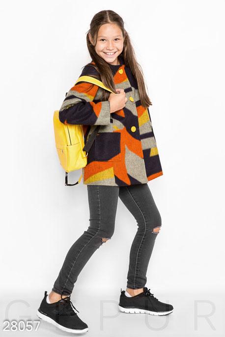 Купить Детская одежда, Детское шерстяное пальто, Пальто-28057, GEPUR, серо-оранжевый