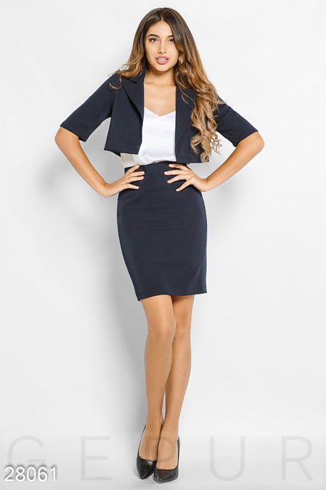 Купить Костюмы и комплекты / Низ юбка, Женский деловой костюм, Костюм-28061, GEPUR, темно-синий