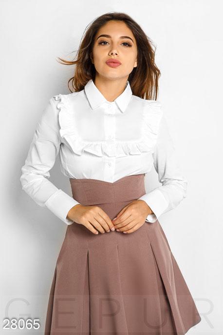 Купить Блузы, рубашки, Хлопковая офисная рубашка, Рубашка-28065, GEPUR, белый