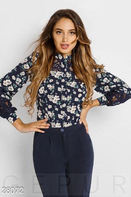 Блузы, рубашки, Цветочная женская блуза, Блуза-28072, GEPUR, темно-синий  - купить со скидкой