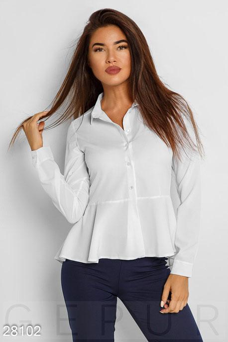 Купить Блузы, рубашки, Струящаяся офисная рубашка, Рубашка-28102, GEPUR, белый