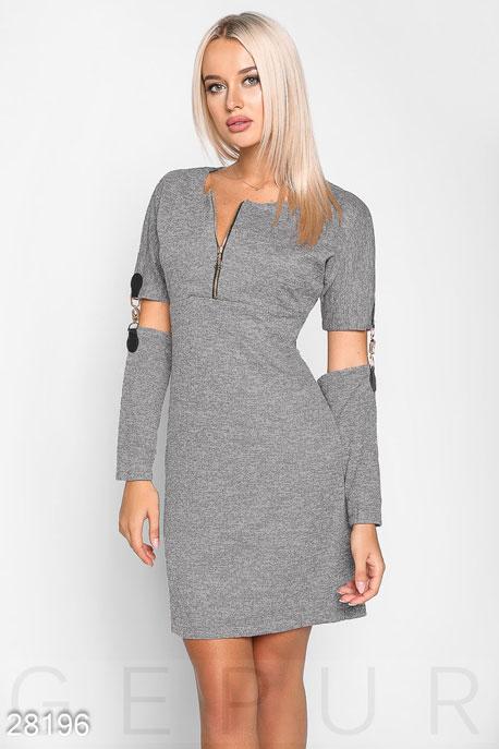 Купить Платья / Мини, Платье со съемными рукавами, Платье-28196, GEPUR, серый меланж