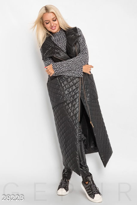 Купить Верхняя одежда / Утепленные, Удлиненный стеганый жилет, Жилет(батал)-28223, GEPUR, черный