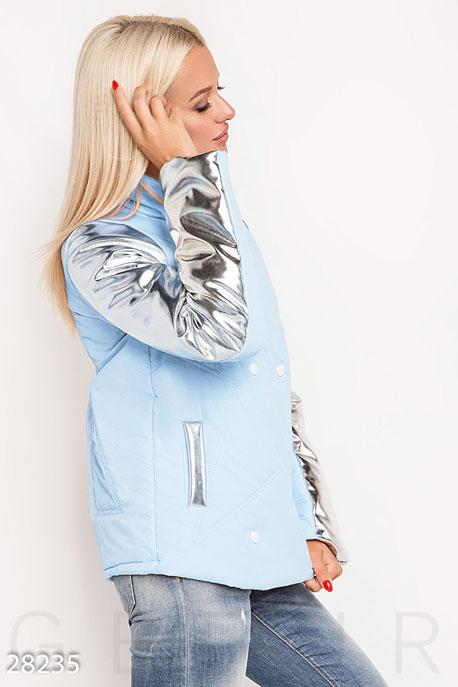 Купить Верхняя одежда / На синтепоне, Комбинированная женская куртка, Куртка-28235, GEPUR, серебристо-голубой