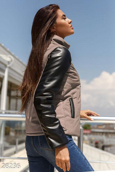 Купить Верхняя одежда / На синтепоне, Комбинированная женская куртка, Куртка-28236, GEPUR, кофейно-черный