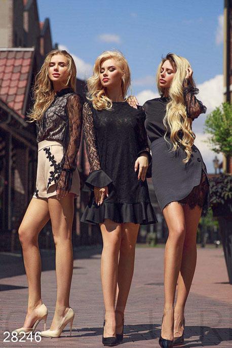 Купить Платья / Мини, Короткое гипюровое платье, Платье-28246, GEPUR, черный
