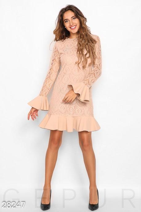 Купить Платья / Мини, Офисное платье с воланами, Платье-28247, GEPUR, бежевый