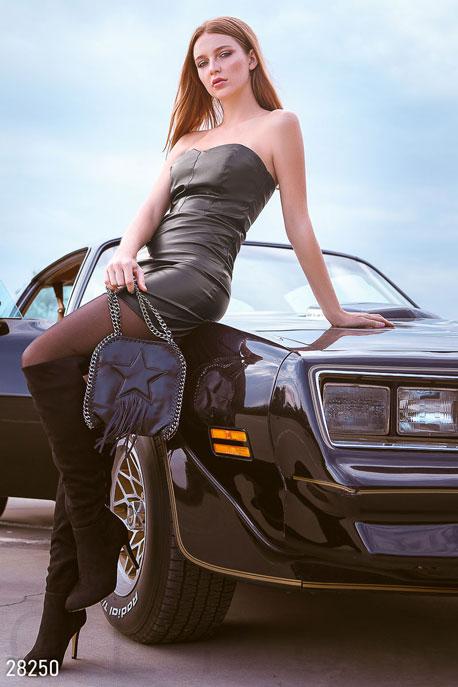 Купить Платья / Мини, Кожаное платье-бандо, Платье-28250, GEPUR, черный