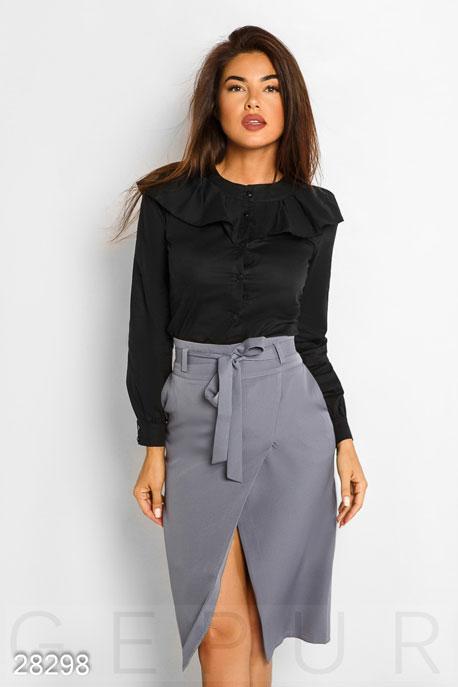 Купить Блузы, рубашки / Большие размеры, Рубашка с оборками, Рубашка(батал)-28298, GEPUR, черный