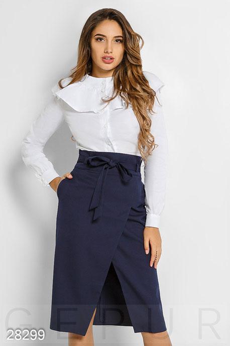 Купить Блузы, рубашки / Большие размеры, Рубашка с оборками, Рубашка(батал)-28299, GEPUR, Белый