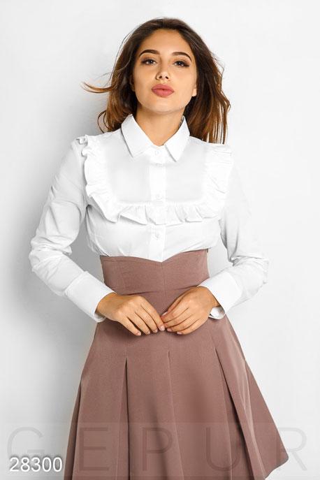 Купить Блузы, рубашки / Большие размеры, Хлопковая офисная рубашка, Рубашка(батал)-28300, GEPUR, белый